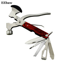 Portable Multifunctional Hammer With Folding Army Knife Axe Plier Set Wooden Handle EDC Knife Opener Screwdriver Pliers