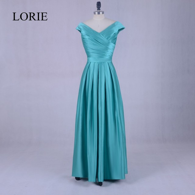 Turquoise Long Evening Party Dress 2018 Robe De Soiree V Neck ...