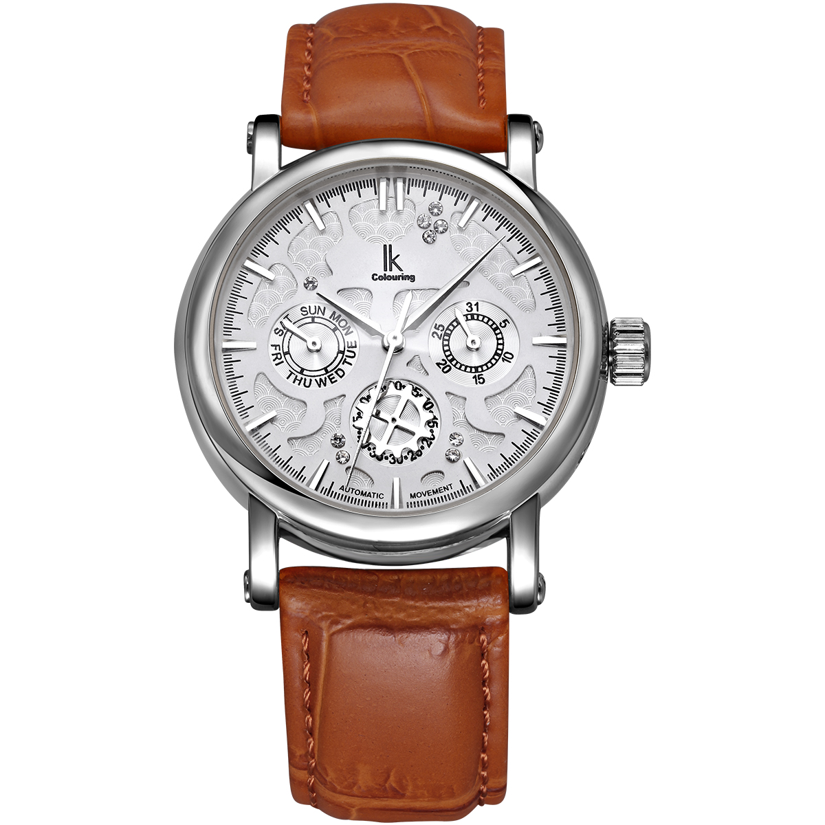 IK Colouring Automatic Mechanical SelfWind Watch Multifunction Mens Wristwatch Hollow Unique Carved Rhinestone Business Watches k colouring women ladies automatic self wind watch hollow skeleton mechanical wristwatch for gift box