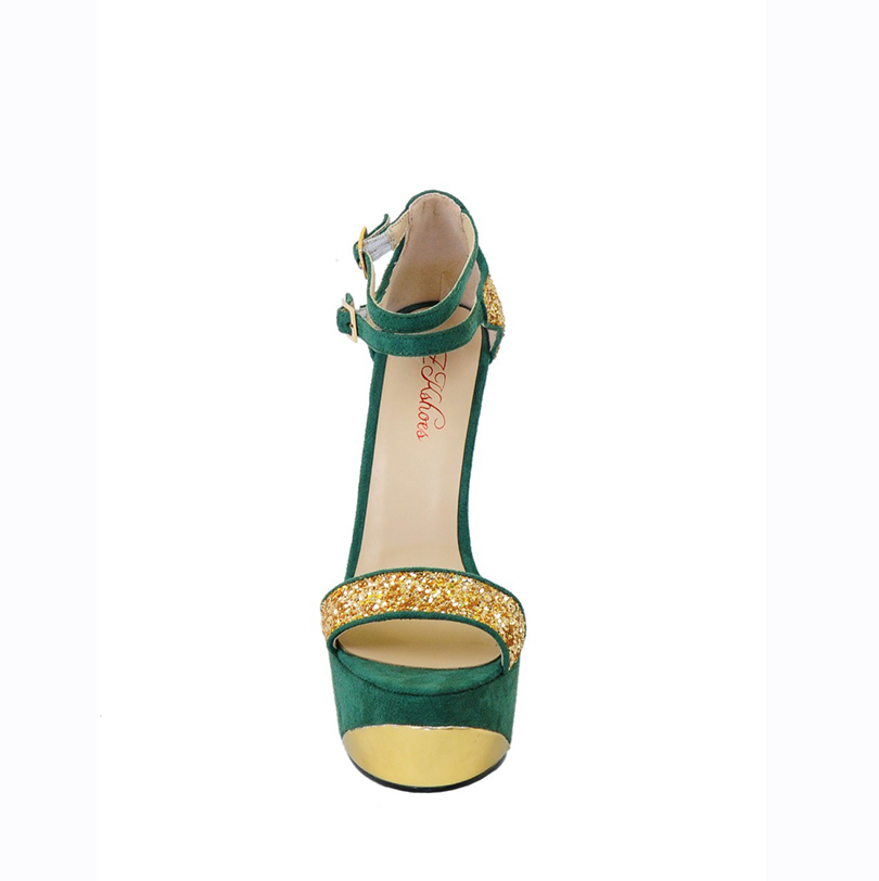 Women Sandals 2017 Peep Toe Caged Heeled Ankle Buckle High Heels Women  Shoes Metallic Upper Super Star Shoes Size4 15-in Women s Sandals from Shoes  on ... a2bf1fe18144