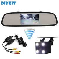 DIYKIT Wireless Auto HD Parking Monitors System LED Night Vision Rear View Camera With 4.3 inch Car Mirror Monitor