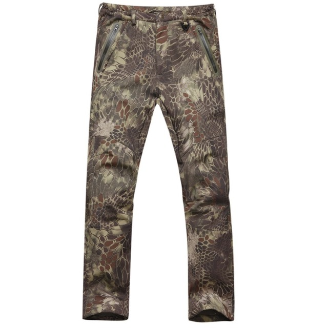 4361a1a26303d TAD Shark Skin Waterproof Windproof Outdoor Hiking Climbing CS Camouflage  Hunting Pants Men Fleece Trousers Military Army Pant