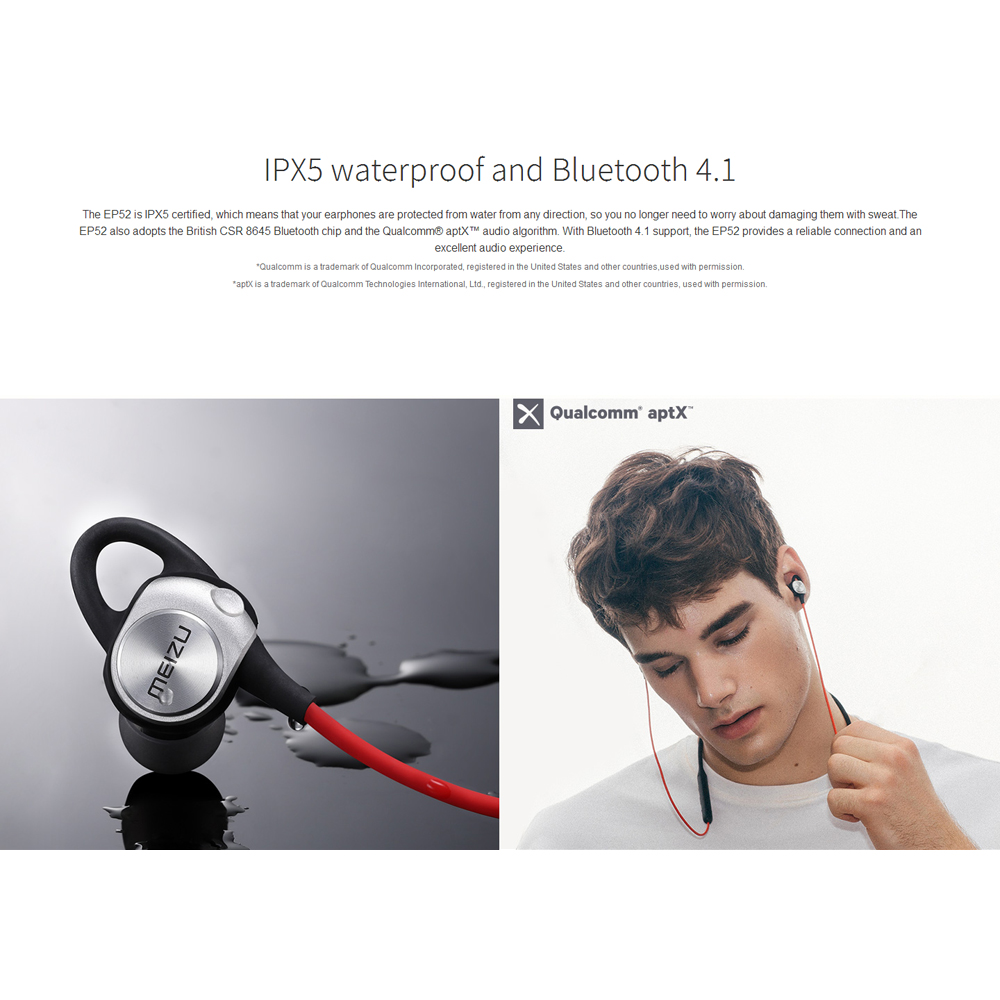 EP52 Sports Bluetooth Earphones Portable BT4.1 Headset Magnetic Design IPX5 Waterproof Stereo Music with Mic Sweatproof