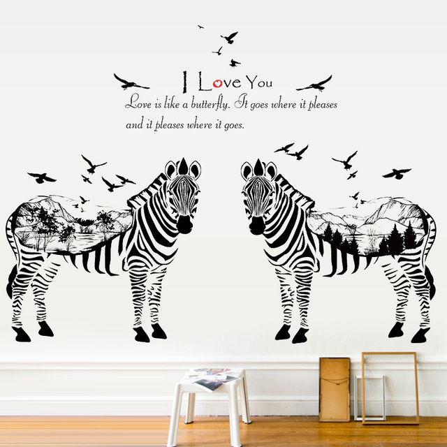 Fundecor 2 zebra sketch animals wall stickers for kids rooms home decor living room