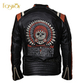 Factory Vintage Black Motorcycle Jacket Retro Skull Embroidery 100% Cowhide Skin Genuine Leather Jacket Men Biker Coat Punk F086