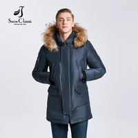 2017 Winter Models Men Detachable Fur Collar Pocket Long Body Cotton Jacket Jacket Warm Fashion Business