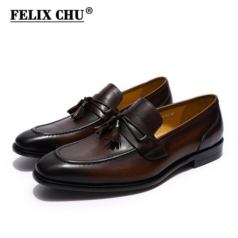 FELIX CHU Hommes Gland Mocassins Italien Robe Casual Mocassins pour Hommes Slip-on De Mariage de Partie Chaussures Hommes En Cuir chaussures Noir Brun