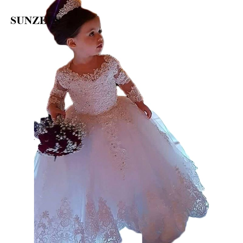 Long Sleeve Ball Gown Princess Flower Girls Dresses Appliques with Beaded Stunning Cute Girls First Communion