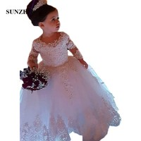 Long Sleeve Ball Gown Princess Flower Girls Dresses Appliques with Beaded Stunning Cute Girls First Communion Dress White SF28