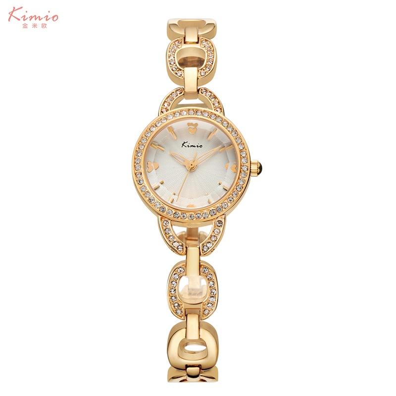 KIMIO Brand Wristwatches Women Life Waterproof Ladies Dress Quartz Watch Alloy Hollow Strap Love Heart Rhinestone