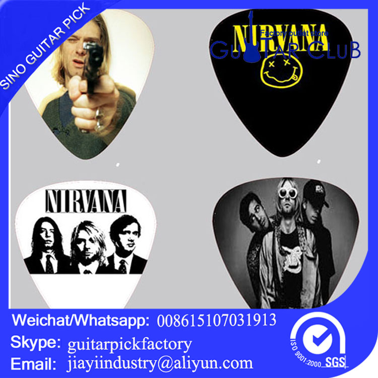 Free shipping Custom color printing guitar picks Nirvana bass ukulele plectrums celluloid 120pcs guitar pick