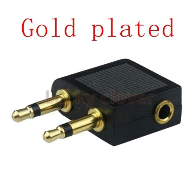 2 uds oro niquelado avión aéreo avión 3,5mm auriculares Mono Audio convertidor de viaje enchufe adaptador divisor