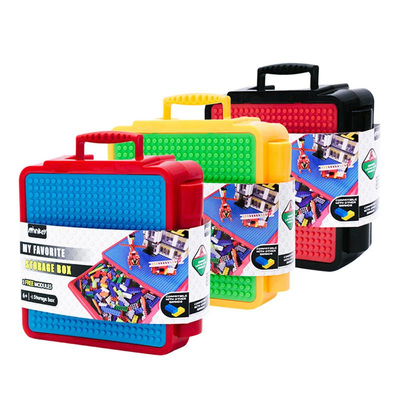 Building Block Assembled Toys Multifunctional Educational Storage Box Sorting Life Organizer Case With Building Plate For Kids