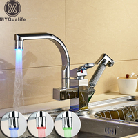 Polished Chrome LED Pull Out Double Spout Kitchen Faucet Deck Mount Hot And Cold Water Kitchen