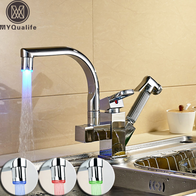 Polished Chrome LED Pull Out Kitchen Faucet Double Spout Deck Mount Kitchen Mixers with Hot and Cold Water Crane polished chrome kitchen sink faucet swivel pull down spout kitchen sink tap deck mounted bathroom hot and cold water mixers