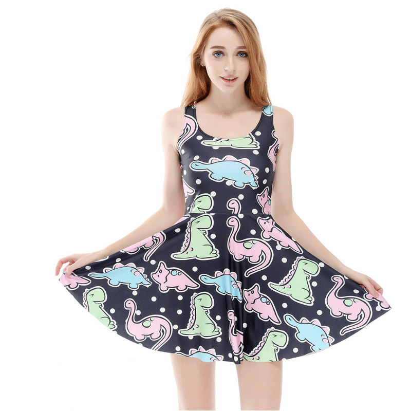 Digital Printing Dinosaur abdl ddlg Dress Cute Adult Baby Clothing floral chiffon dress long sleeve