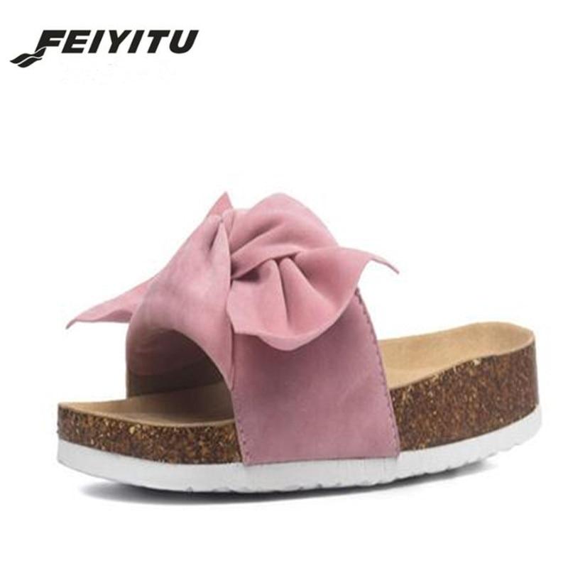 FeiYiTu Summer style butterfly-knot cork slippers woman fashion flat flip flops women new holiday beach shoes eu size 35-41