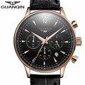 Mens relógios top marca de luxo guanqin homens do esporte militar relógio de pulso dos homens moda casual couro quartz watch relogio masculino