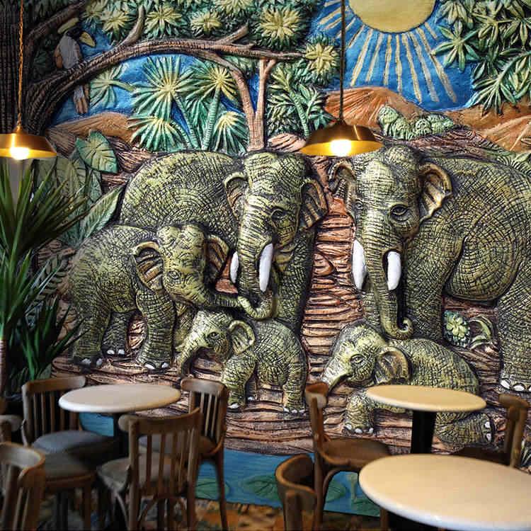 3D Asia Tenggara Thailand Gaya India Foto Wallpaper Living Room TV Dinding Wallpaper 3D Latar Belakang Wallpaper Dinding Mural Kertas Dinding