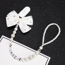 MIYOCAR custom name Bling silver rhinestone bow pink and sliver beads dummy clip holder pacifier clips holder/