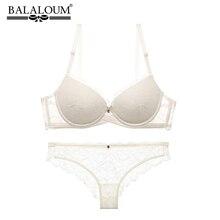 BALALOUM Sexy Push Up Floral Lace Bra Briefs Sets Transparent Panties Comfortable Brassiere Underwear Lingerie WHITE
