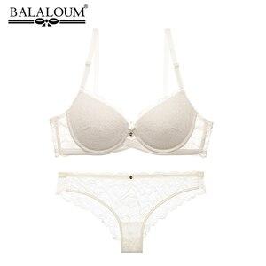Image 1 - BALALOUM Sexy Push Up koronkowy biustonosz w kwiaty figi komplety przeźroczyste majtki wygodny biustonosz bielizna bielizna biała