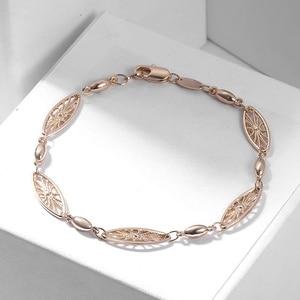 Image 3 - 6mm 585 Rose Gold Bracelet for Womens Girls Elegant Flowers Link Weaving Bracelet Fashion Wedding Jewelry Gift CB12