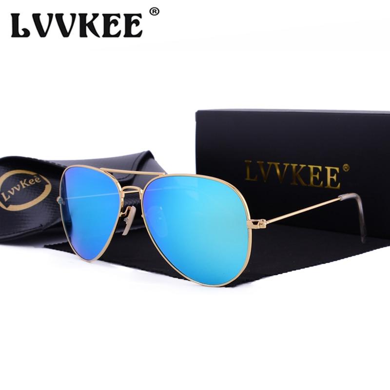 LVVKEE 2018 gafas de sol clásicas calientes hombres / mujeres Lente de vidrio templado reflectante de 58 mm Accesorios para gafas Gafas de sol