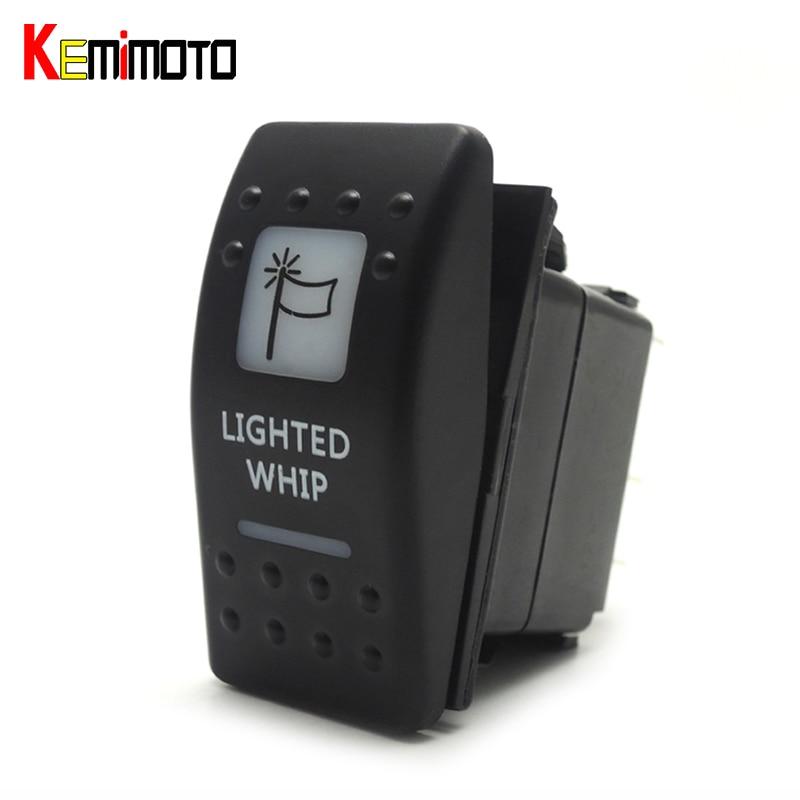 KEMiMOTO for Can Am Maverick Commander 2011 2012 2013 2014 2015 White Rocker Lighted Whip LED Laser Rocker Illuminated Switch
