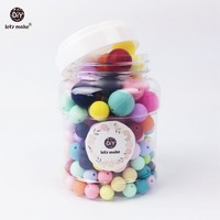 Silicone Color Beads Baby Teether Beads For Necklaces 200PC Round Silicone Beads Ecofriendly BPA Free Silicone
