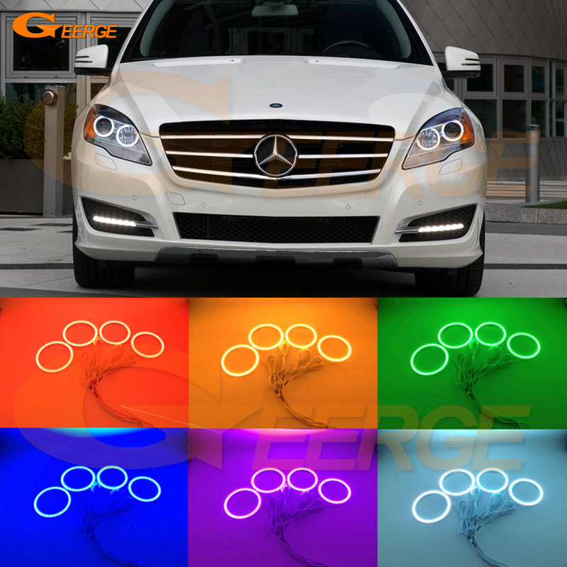 For Mercedes Benz R-class R300 R320 R350 R500 2011 2012 2013 Excellent Multi-Color Ultra bright RGB LED Angel Eyes kit for mercedes benz b class w245 b160 b180 b170 b200 2006 2011 excellent multi color ultra bright rgb led angel eyes kit