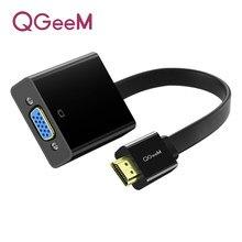 Qgeem hdmi cabo compatível para vga adaptador conversor de áudio vídeo digital 1080p para xbox 360 ps3 ps4 computador portátil tv caixa projetor