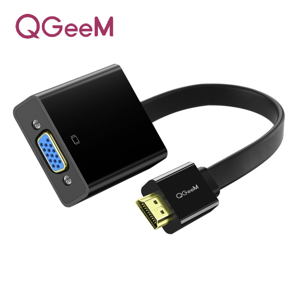 QGeeM HDMI to VGA adapter Digital to Analog Video Audio Converter Cable 1080p for Xbox 360 PS3 PS4 PC Laptop TV Box Projector title=