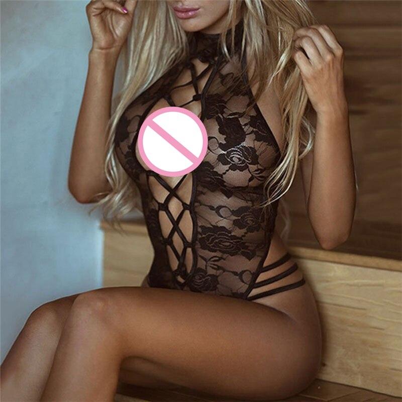 Сексуальное нижнее белье размера плюс 3XL, костюм черного цвета, Прозрачный женский сексуальный кружевной открытый бюстгальтер, сексуальное нижнее белье Тедди, костюм кошки - Цвет: Черный