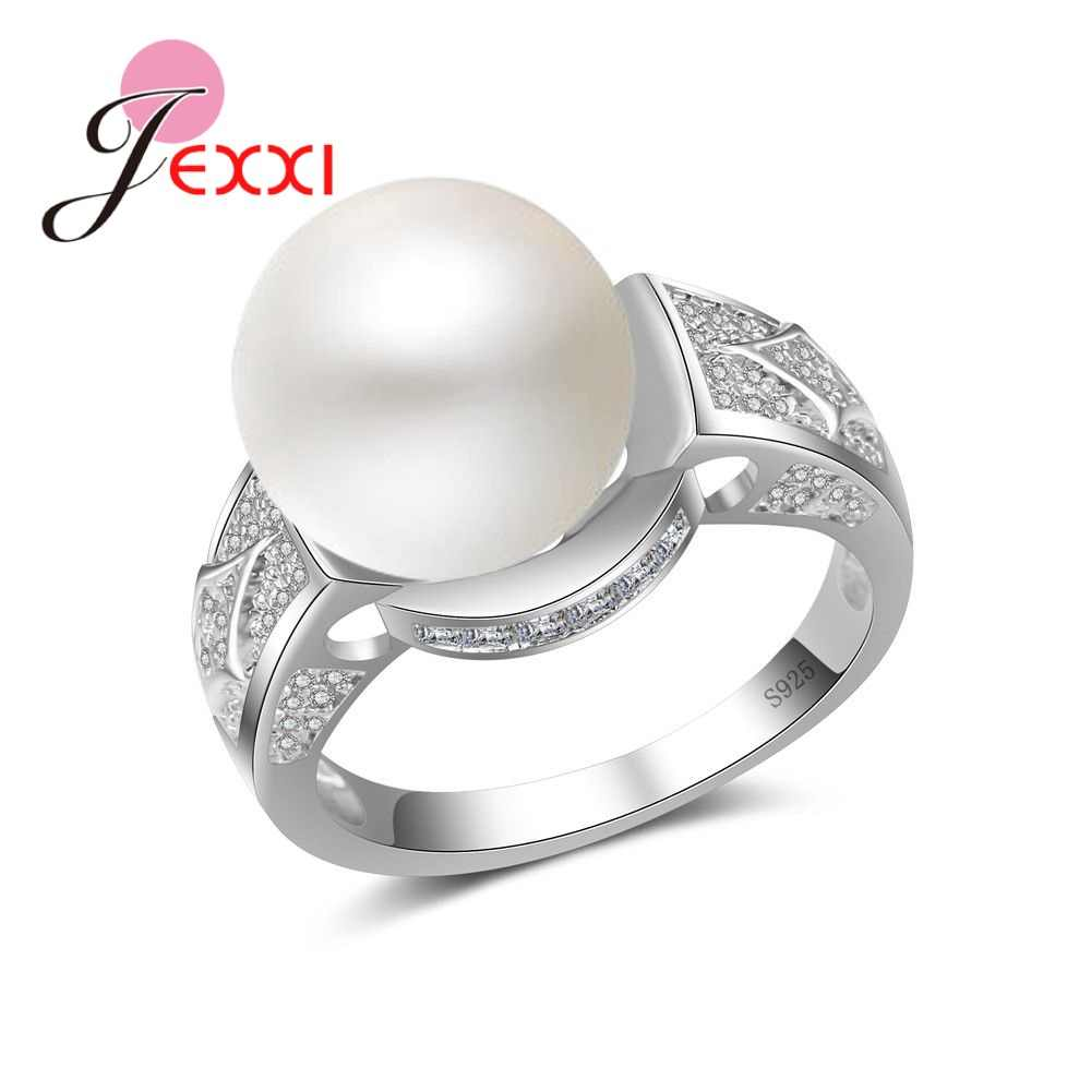 Romantic Wedding Engagement Rings For Women AAA+ CZ Stone With Big Pearl 925 Sterling Silver Fashion Female Wedding Bands