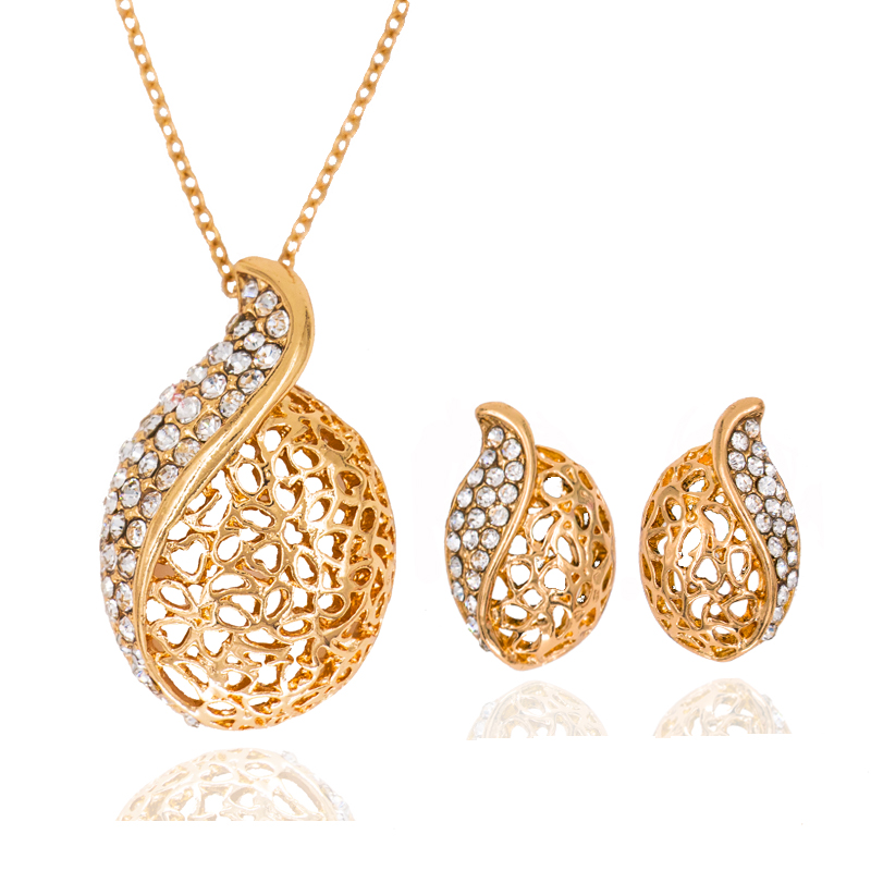 Hot sale fine jewelry sets Rhinestone for women Bridal Jewelry necklace and earring set gold color free shipping