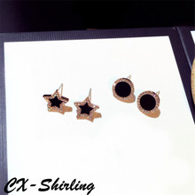 CX-Shirling Fashion S925 Silver Pin Earrings Women Star Round Rhinestone Stud For Luxurious Elegant Brand Earring