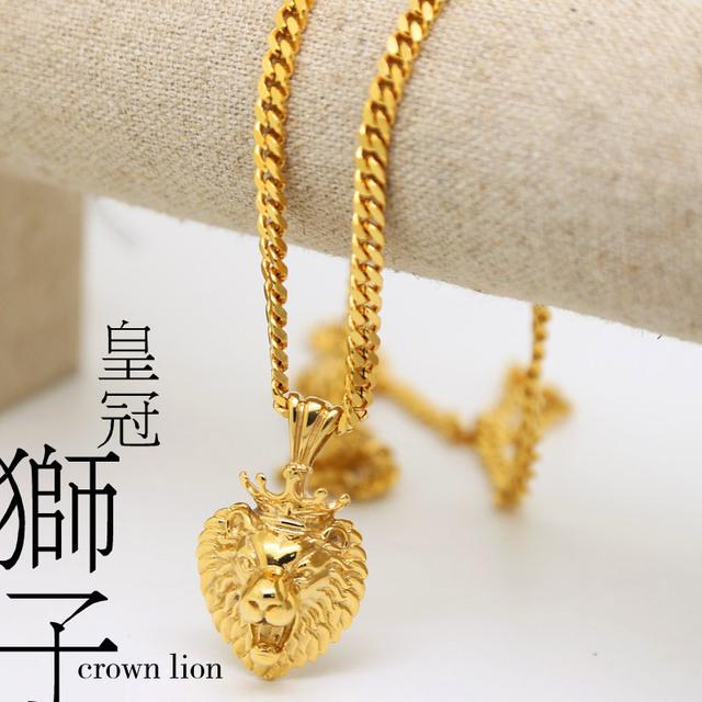100% Placa de Oro dcrown león colgantes de Alta Calidad de La Manera de Hiphop collares largos de Cadena de oro para los hombres de la joyería bijouterie nuevo 2017