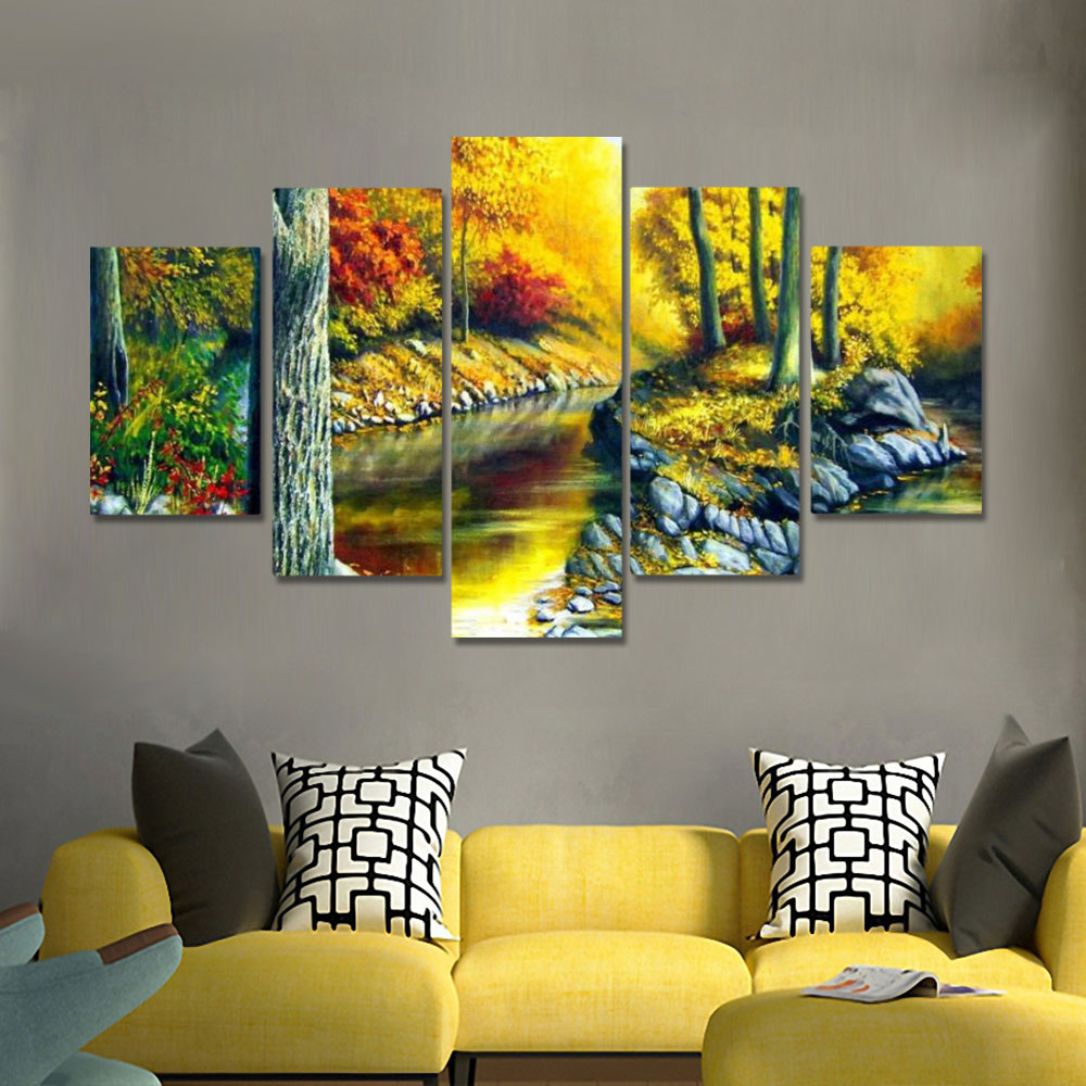 Unframed HD Canvas Prints Oil Painting Autumn Scenery River Deciduous Prints Wall Pictures For Living Room Wall Art Decoration