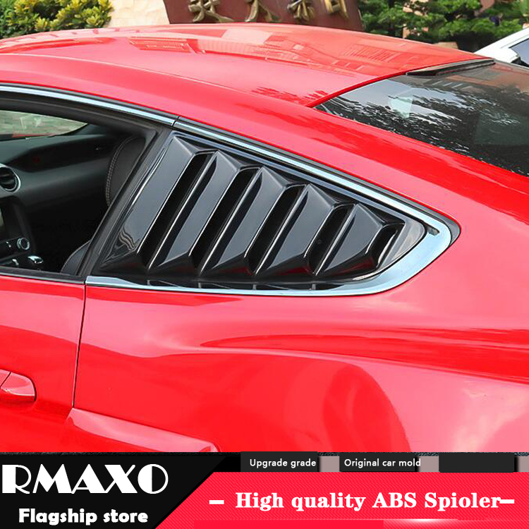 For Ford Mustang 2016 2019 Sedan ABS Rear Door Window shades Louver Frame Window Sill Molding