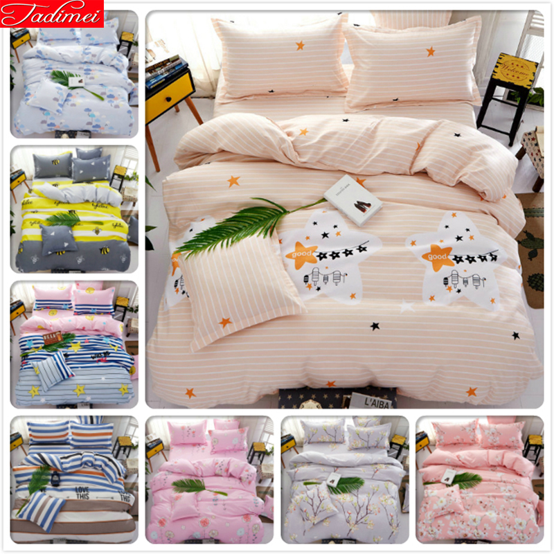 Full Range Of Specifications And Sizes Industrious Star Pure Color 3/4 Pcs Bedding Set Kids Bedlinen Double Queen King Size Quilt Duvet Cover 1.5m 1.8m 2m Bedsheet Beds Bedclothes Famous For High Quality Raw Materials And Great Variety Of Designs And Col