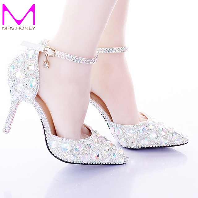 Pointed Toe Silver Pumps Ab Color Bridal Shoes Rhinestone High Heel Glitter Women Comfortable Wedding