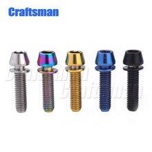 Boulons à tête conique en titane M5 X 16mm, M5 X 18, M5x20, avec rondelle, tiges de vélo, bleu, noir, arc-en-ciel, or