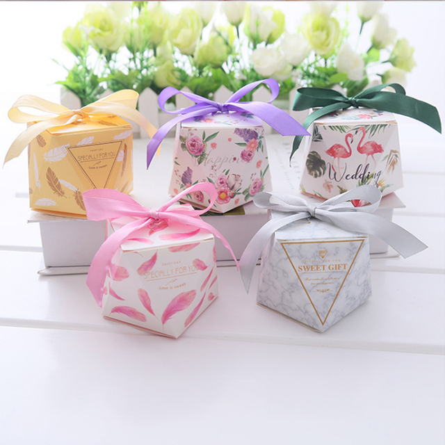 Baby Shower Bags For Wedding Favor 10pcsset Diamond Shaped Sweet
