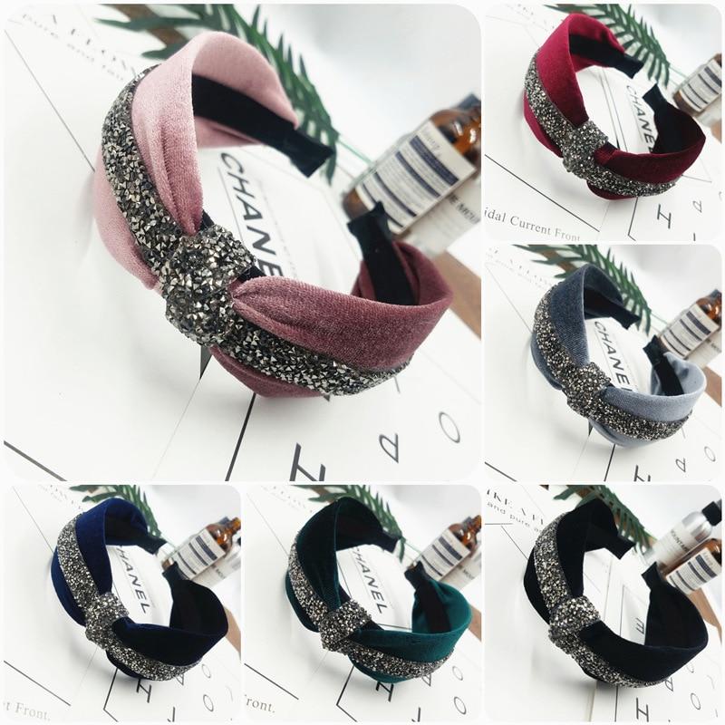 1Pcs Boutique Diamond Gold Velvet knot hairband women girl hair head hoop band headband accessories for women headdress headwear