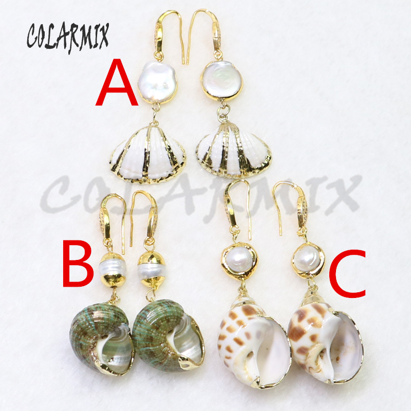 5 pairs shell earrings conch earrings with pearl beads wholesale earrings gems jewelry handcrafted women jewelry
