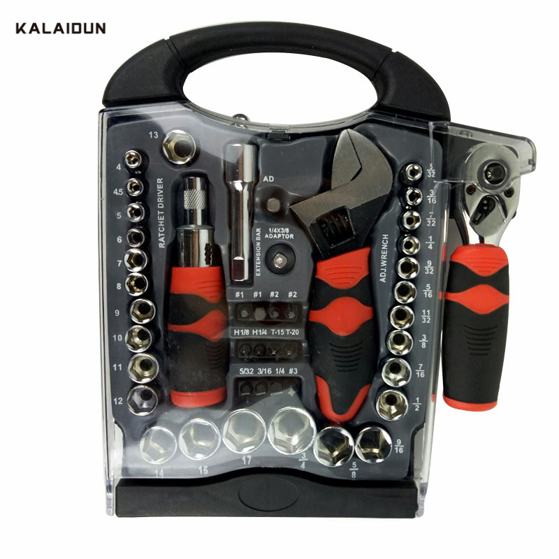 KALAIDUN 45pc multi-function ratchet wrench stubby set Short Handle Tool Set Home Auto Repair Ratchet Spanner Socket Set xkai 14pcs 6 19mm ratchet spanner combination wrench a set of keys ratchet skate tool ratchet handle chrome vanadium