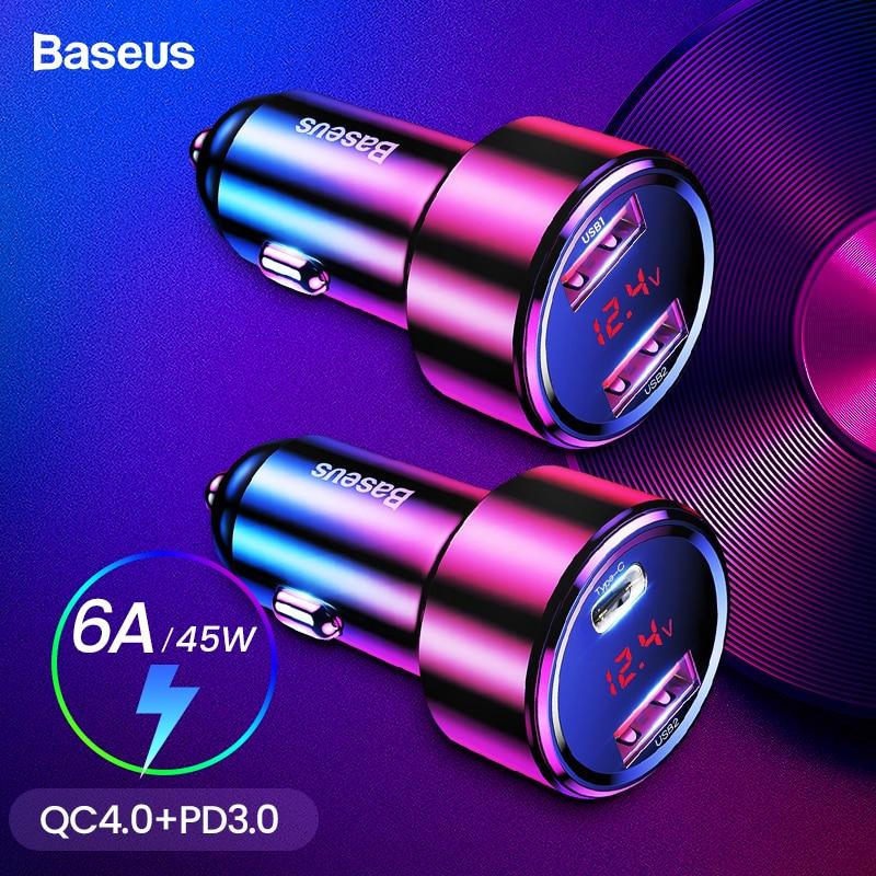 Baseus 45 W Carga Rápida 4.0 3.0 USB Carregador de Carro Para o iphone Xiao mi mi Huawei QC4.0 QC3.0 QC PD 6A Carregamento Rápido Carregador de Telefone Do Carro