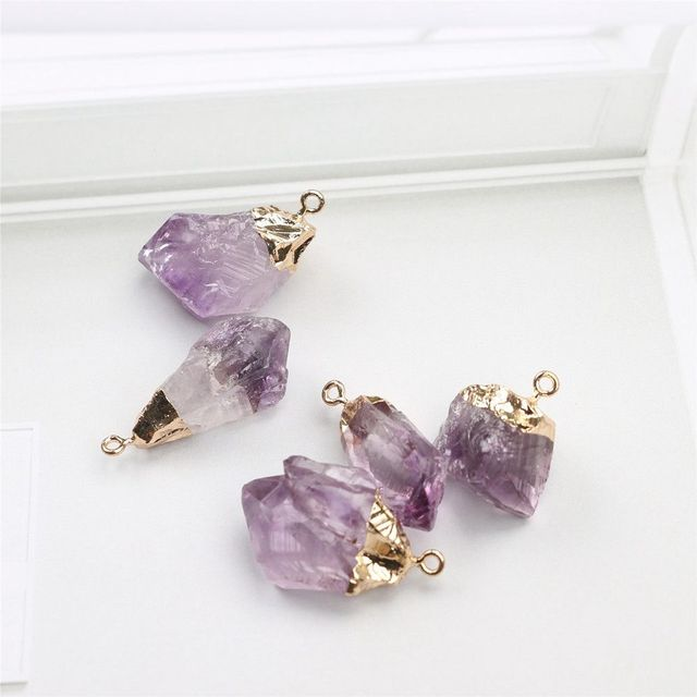 1PC Purple Natural Amethyst Gemstone Pendant Quartz Crystal Point Healing Stone Long Chain Necklace Amethyst Pendant Home Decor 4