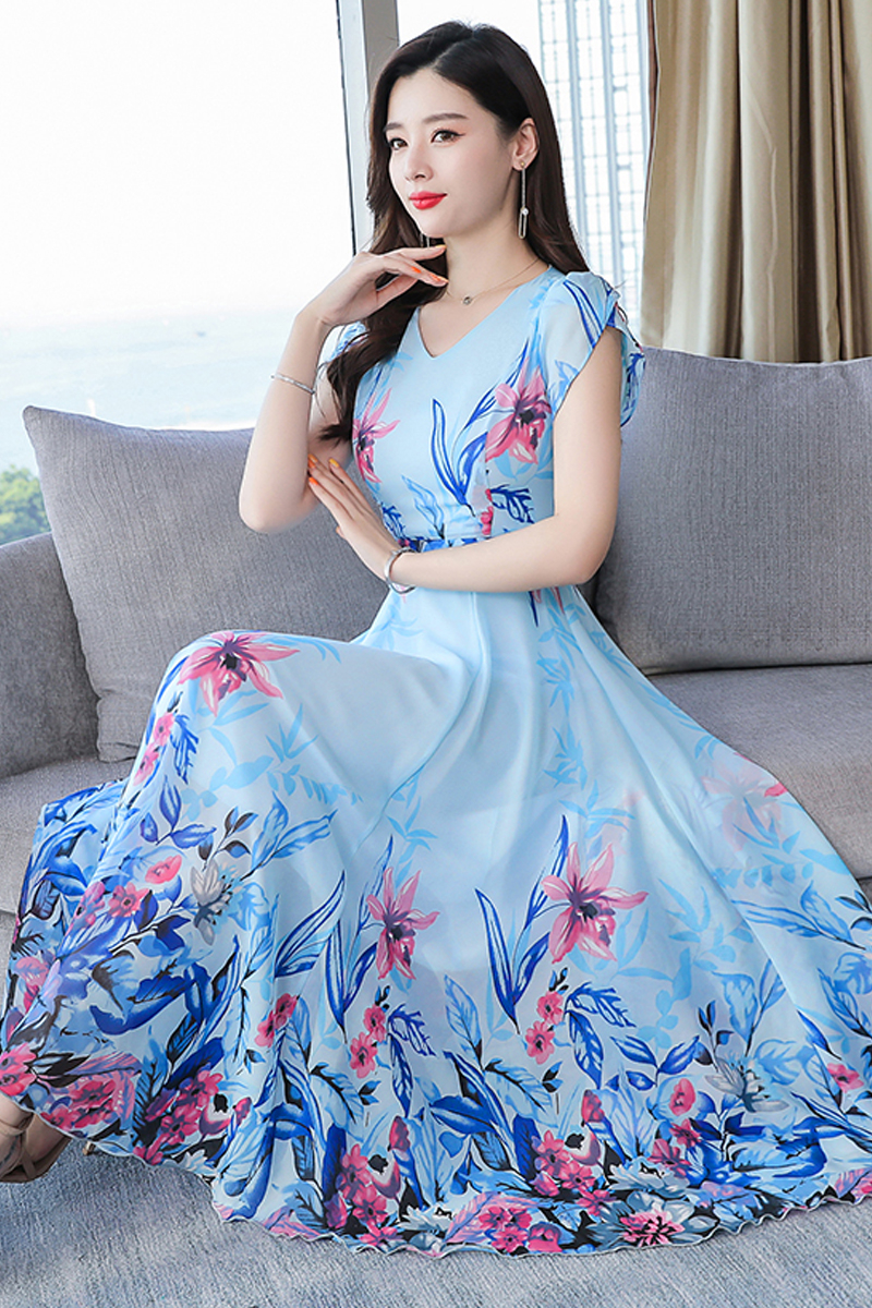 Vintage Floral Print Dress Women 2019 Casual Short Sleeve Chiffon Beach Party Dress Elegant V Neck Ladies Maxi Dress Sundress in Dresses from Women 39 s Clothing